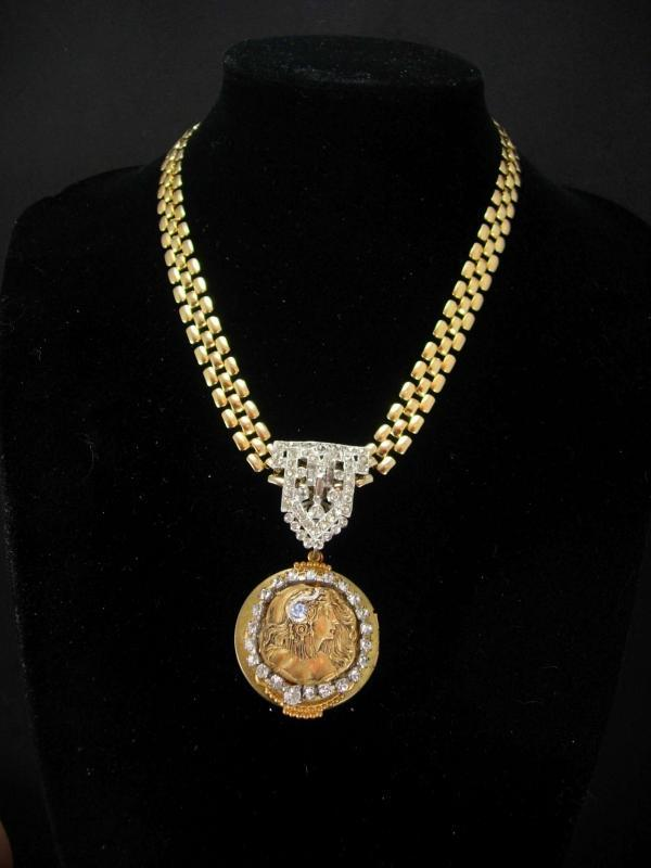 Exotic art nouveau locket Cleopatra  vintage bookchain necklace with jeweled snake in her hair