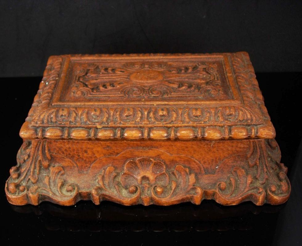 Antique Coffin box Victorian Bible case miniature coffin casket ornate baroque carving Trinket jewelry dresser heirloom vintage chest