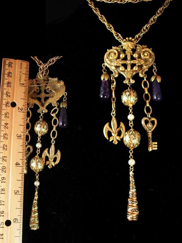 Gothic Vintage chandelier charm necklace and Brooch Enamel and pearls and genuine amethyst.