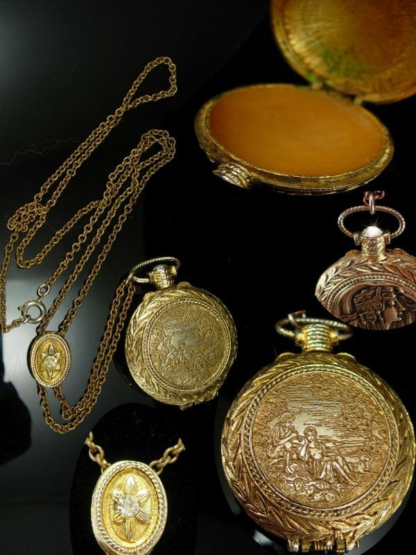 Exotic Mucha Nouveau goddess pocketwatch scent locket on jeweled slide chain
