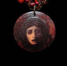 Gothic Necklace Talisman Medusa snake headed Protective goddess stone carnelian 2 strand choker