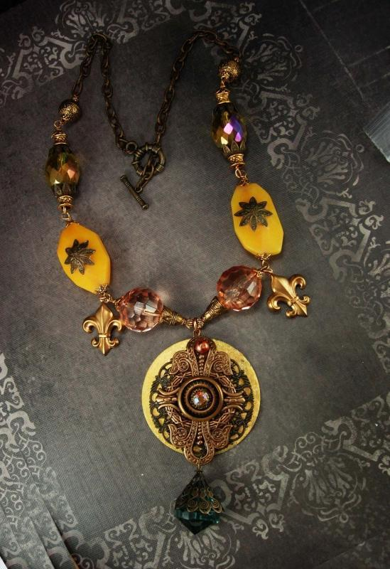 Bohemian Crystal semi PRecious Gothic chandelier OOAK huge DRAMATIC Medallion necklace
