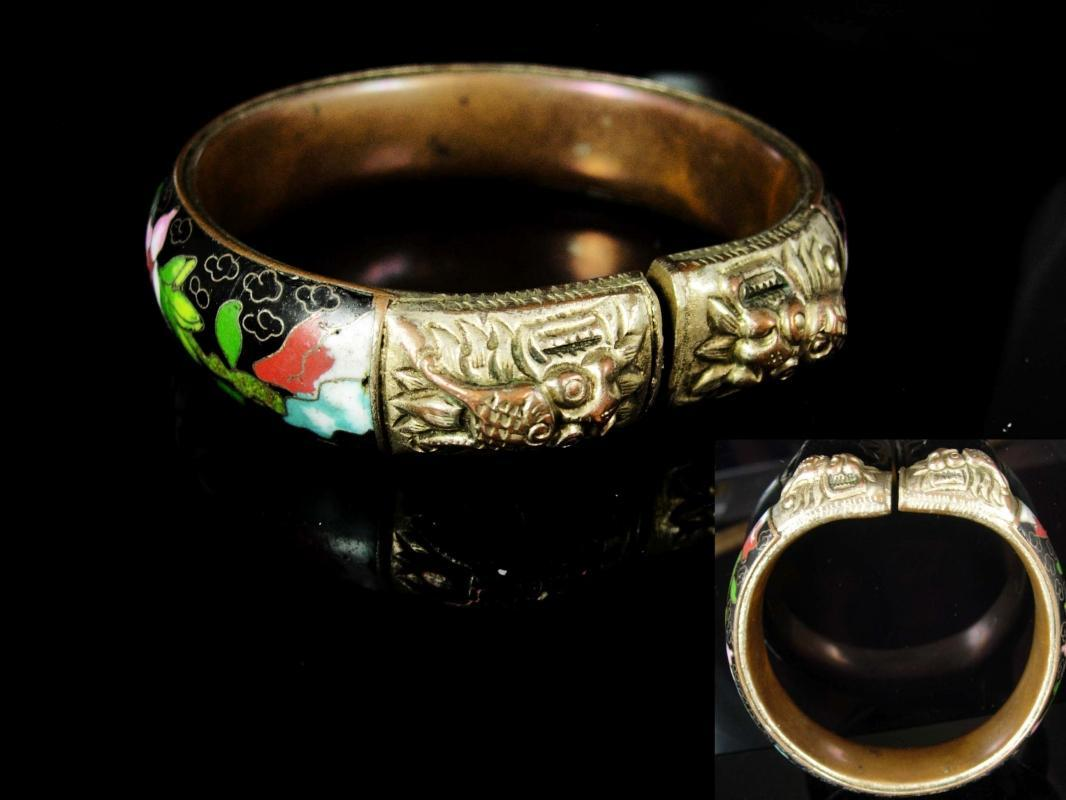 ANTIQUE Bracelet dragon heads flower Enamel Foo dog chinese export figural hand wrought jewelry