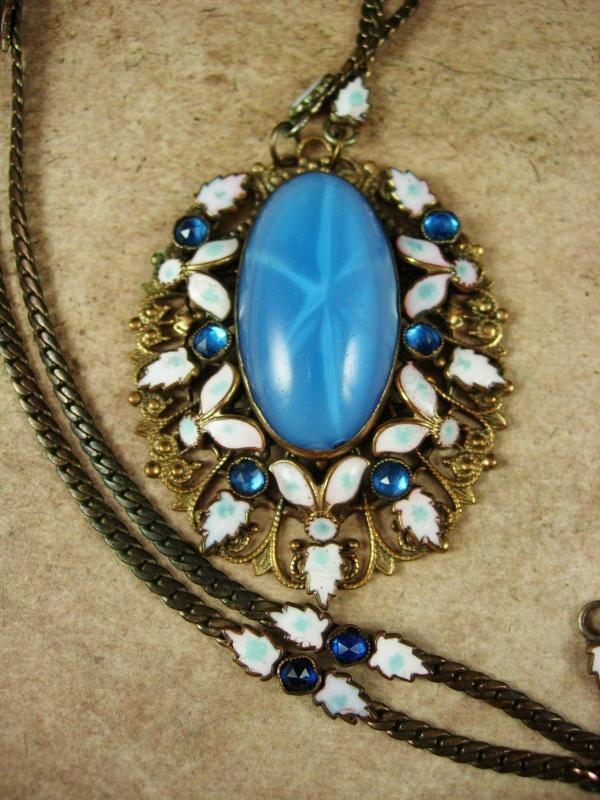 Czech Necklace Vintage Max Neiger 1920 ART Deco BLUE enamel glass Victorian Jewelry Brass filigree pendant