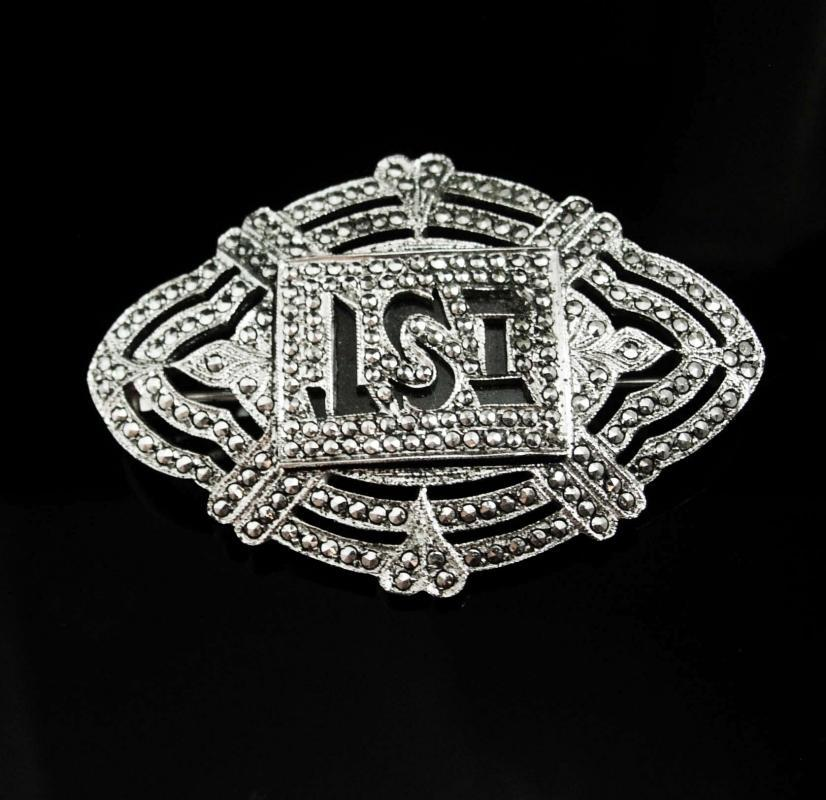 Fancy Sterling Antique Marcasite brooch Initial letter IST LSI peronalized art deco silver estate heirloom art deco  vintage jewelry