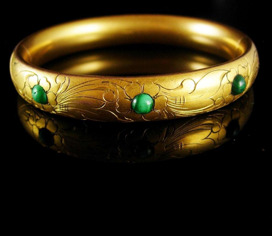 Antique Victorian Bracelet Vintage hinged bangle Malachite signed  vintage gold Fancy etchings