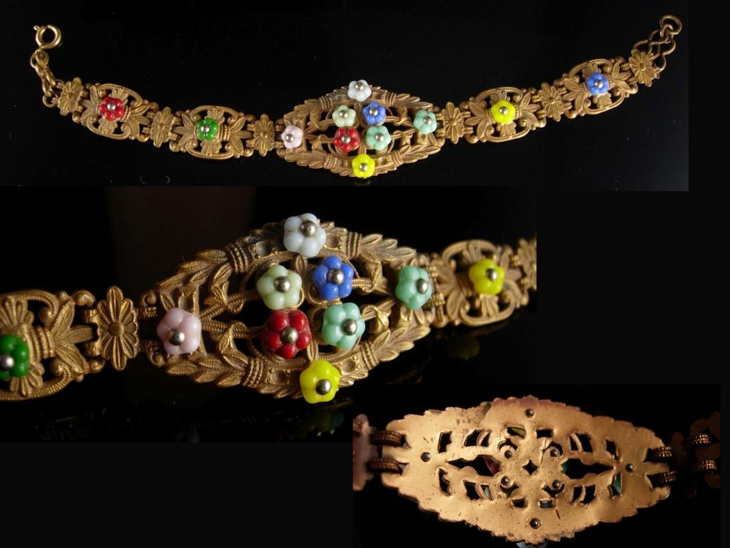 Vintage czech flower Bracelet art deco ornate brass filigree Rare beauty estate jewelry