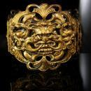 HUge Vintage Gargoyle bracelet Bacchus Relief bangle hinged with figural mythology God Gothic jewelry