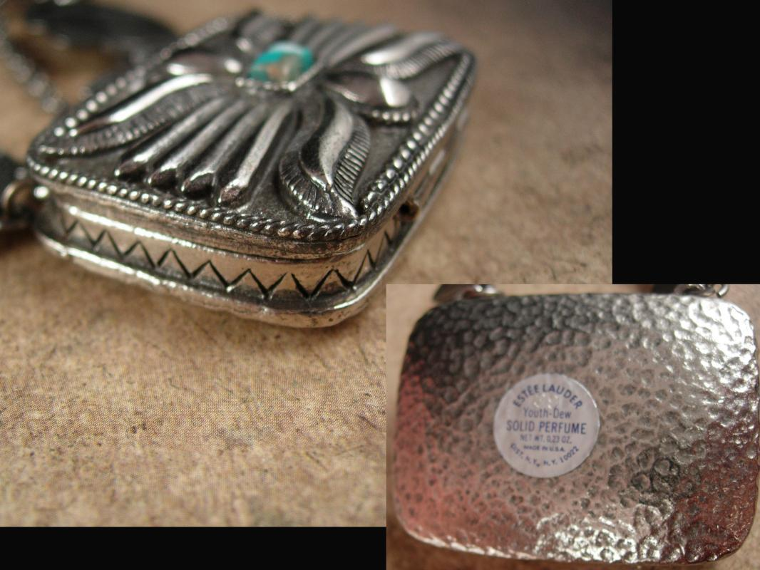 Vintage Perfume Necklace Large southwestern design concho chain locket Estee lauder Youth dew