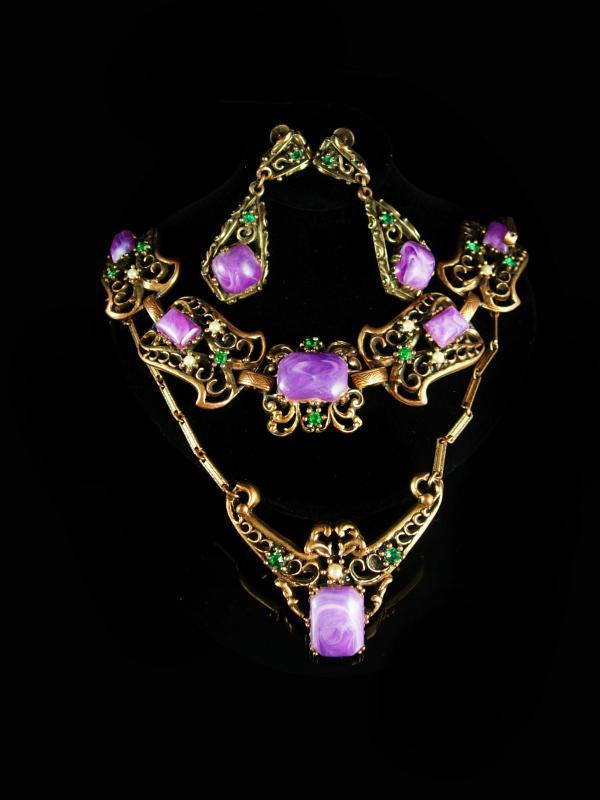 Antique HUGE Parure bracelet Vintage Purple galalith earrings Necklace Suffragette Victorian rhinestone fancy metal work statement jewelry