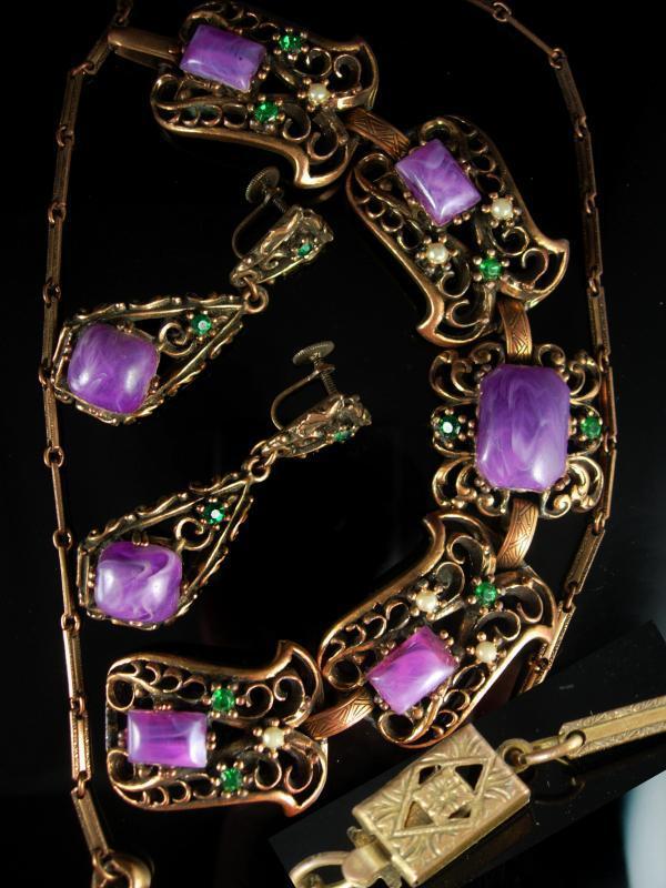 Antique HUGE Parure bracelet Vintage Purple galalith earrings Necklace Suffragette Victorian rhinestone fancy metal work statement jewelry