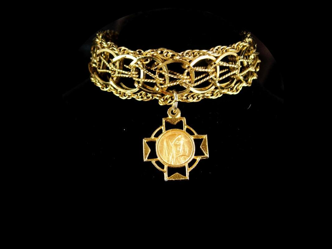 Gold filled Bracelet Religious bracelet vintage gold bracelet Virgin mary medal  12kt gold filled bracelet catholic cross charm