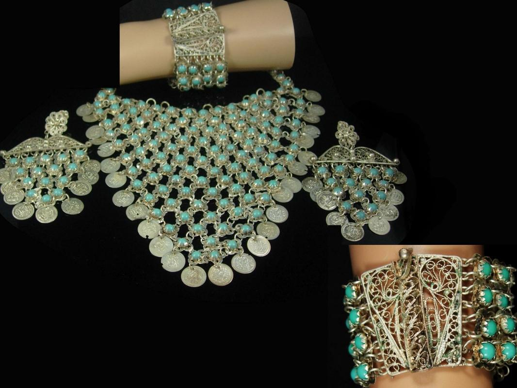 Gypsy necklace bracelet earrings turquoise parure Goddess necklace Bib necklace antique necklace statement necklace chainmail necklace bib