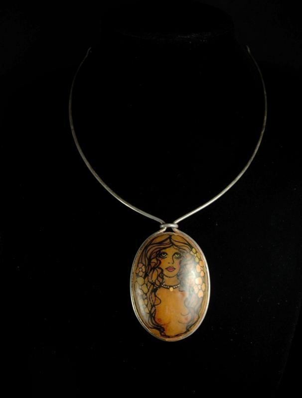 Exotic art nouveau necklace vintage sterling choker Art handpainted necklace nude necklace Goddess necklace