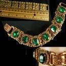 Vintage Czech bracelet Green bracelet gold filigree Rhinestone Bracelet costume jewelry Virgo March Birthday Irish Bracelet