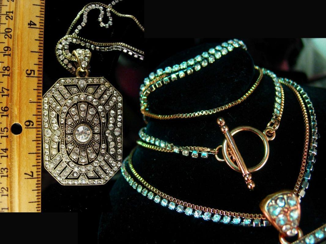 Vintage Religious Saint Necklace Vintage deco style rhinestone 30