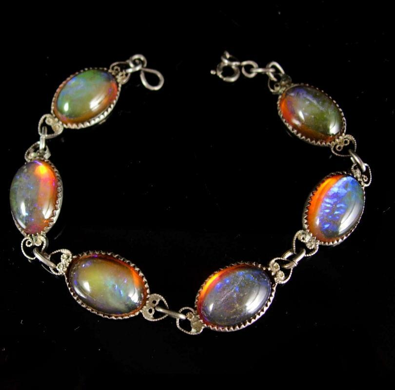 ART DECO Bracelet Hauntingly beautiful Jelly opal bracelet sterling dragons BREATH Bracelet 1920's vintage silver filigree