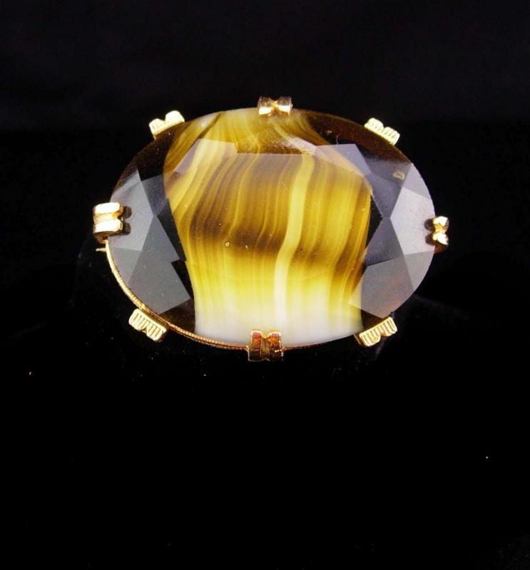 Vintage slag glass brooch brown stripe Glass gold brooch German Brooch