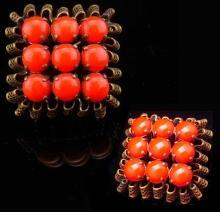 Vintage brooch Fancy Czech brooch ruffle filigree deep orange Glass Brooch with ornate metal work