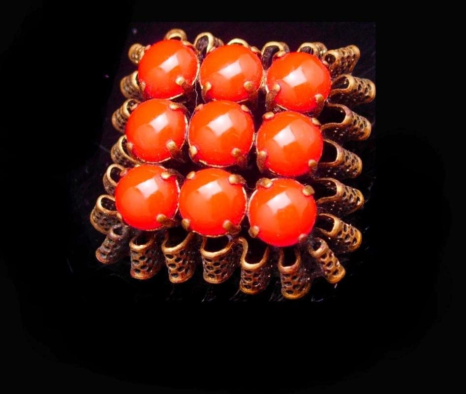 Vintage brooch Fancy Czech brooch ruffle filigree deep orange Glass Brooch with ornate metal work
