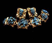 Dragon set VINTAGE ENAMEL medieval DRAGON Devil bracelet earrings parure