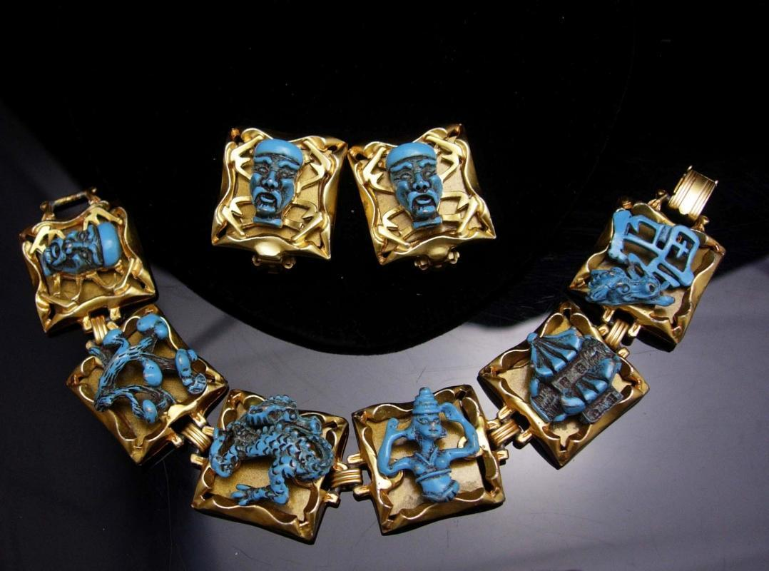 Dragon set VINTAGE ENAMEL medieval DRAGON Devil bracelet earrings parure