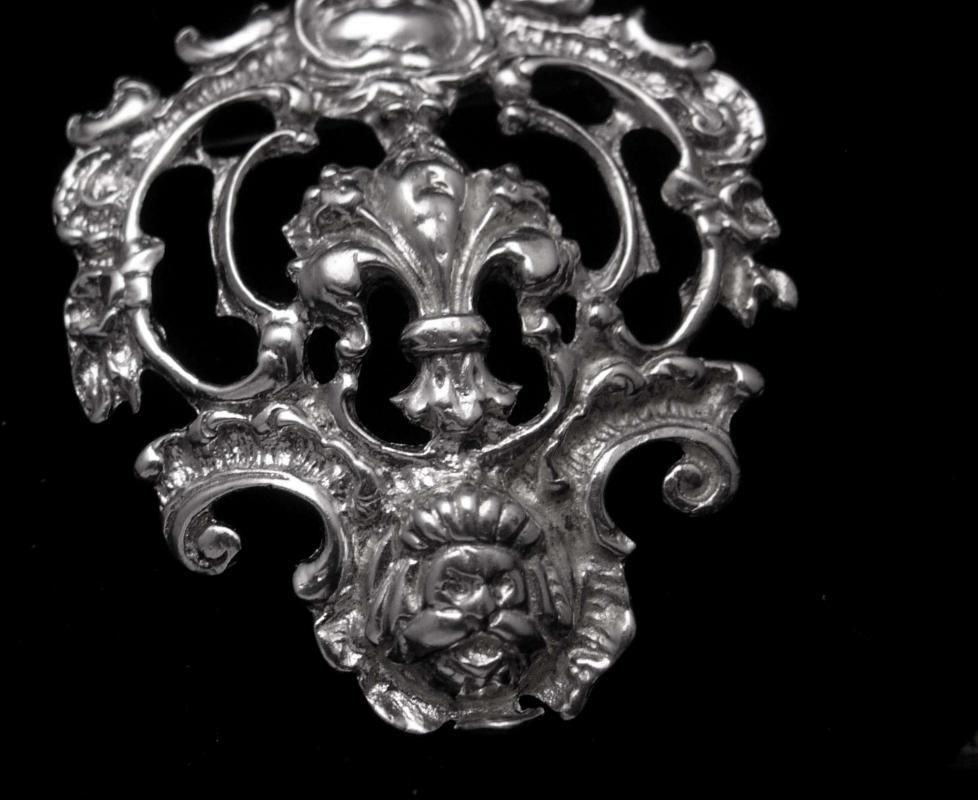 Antique sterling Peruzzi brooch Grotesque Mask Vintage silver Fleur de lis Gargoyle Victorian Mythical Creatures Estate jewelry unsigned