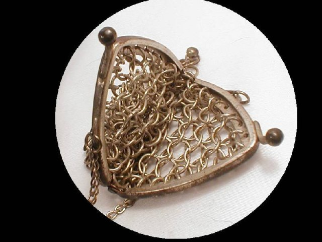 OLD LARGE LINK chain Mail chatelaine mini purse