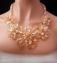 Runway necklace / huge statement choker / crystal faceted bib / flower bib / brilliant faceted glass / pale yellow jewelry / couture jewelry