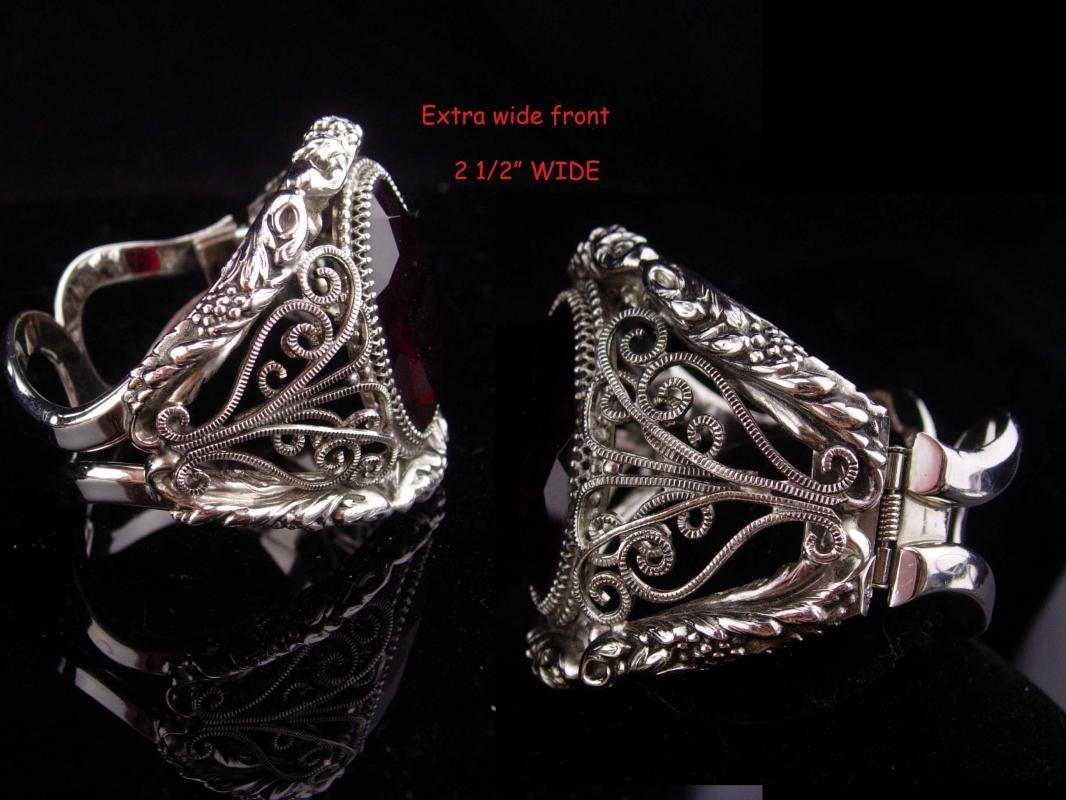 Whiting & Davis bracelet / HUGE red stone / Goddess bangle / Vintage signed jewelry / silver estate bracelet / costume jewelry / big cuff