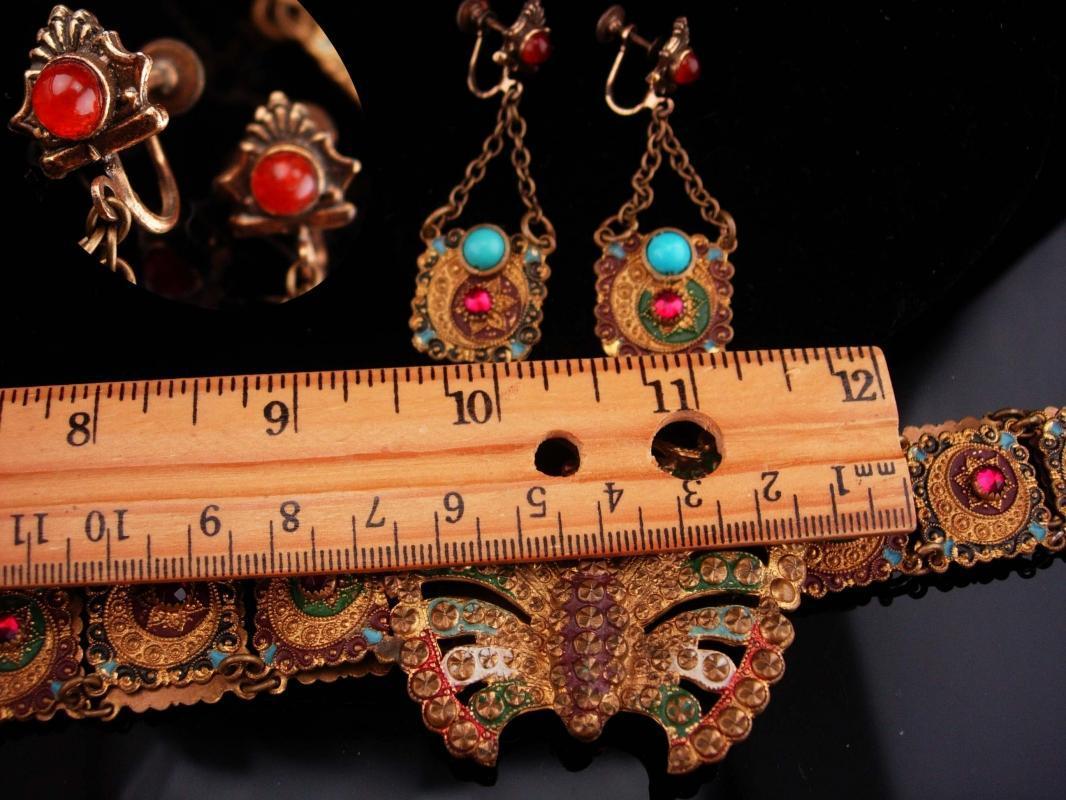 Antique czech earrings / moon star jewelry / Butterfly headband/ art nouveau jewelry / Vintage Czech Enamel / Antique estate jewelry / gypsy