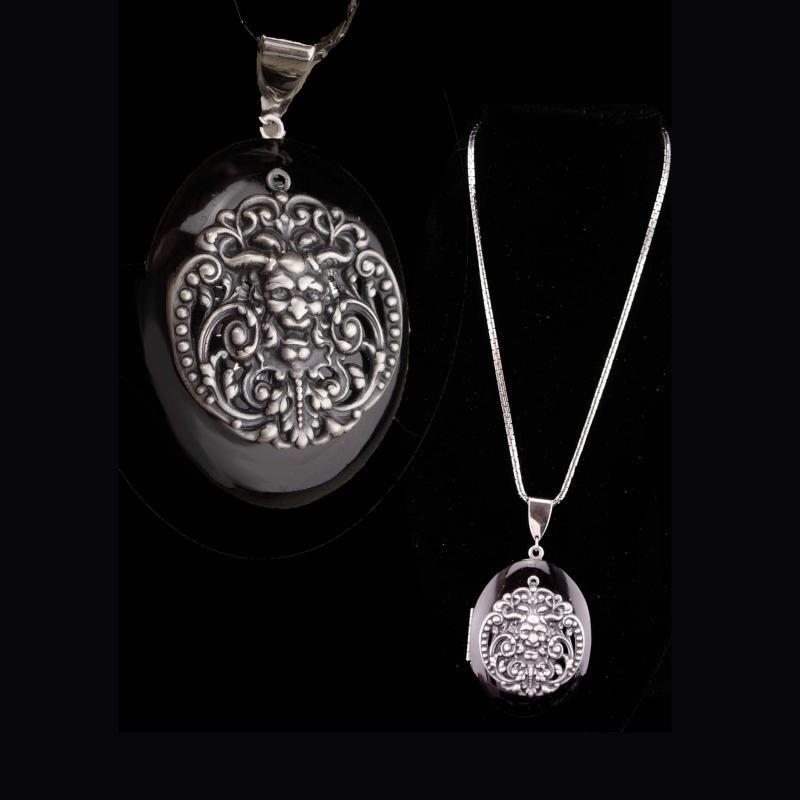 Vintage locket / Medieval necklace / black enamel / Bacchus Green Man / renaissance jewelry / silver necklace / victorian design