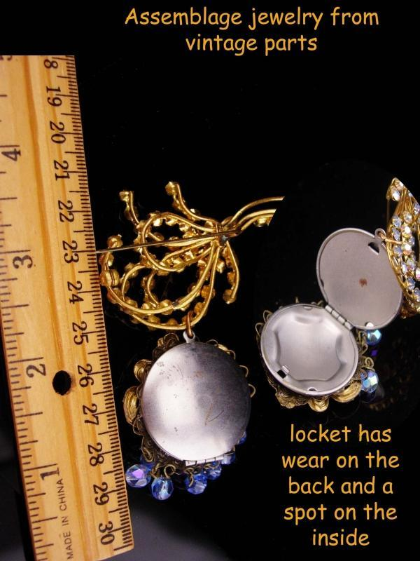 Vintage Locket / rhinestone brooch / chatelaine pin / Austrian mucha Goddess / signed costume jewelry