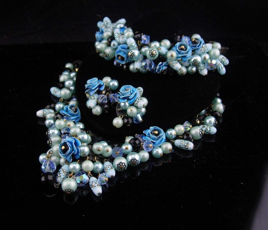 Statement parure / DRAMATIC Necklace / blue flower bracelet / japanned earrings / blue brooch / venetian foil / enamel / BOOKCHAIN parure