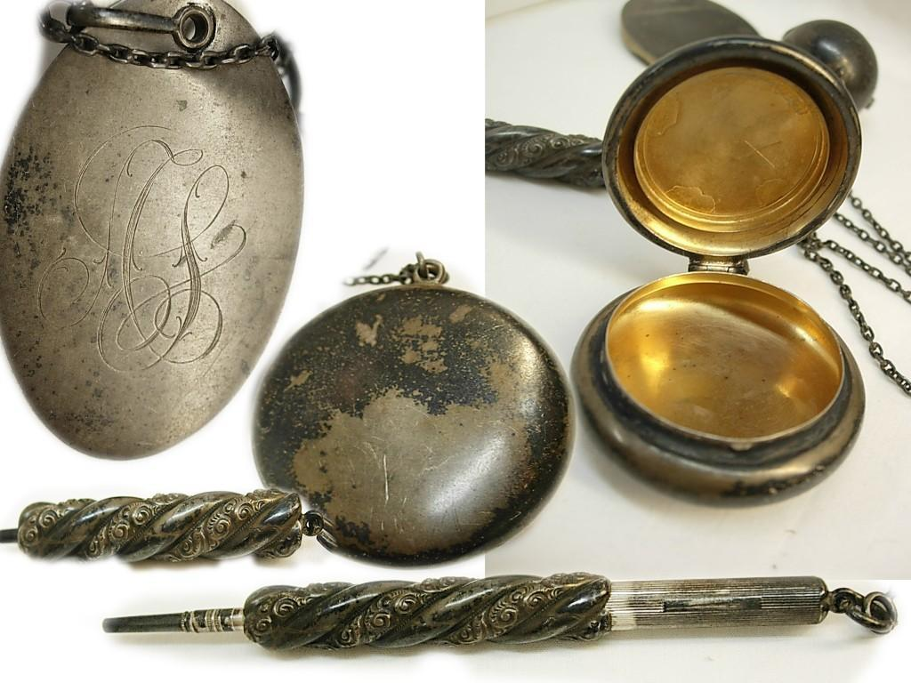 Antique sterling Chatelaine / dance card / compact coin holder / mechanical pencil / Fully hallmarked / silver finger ring
