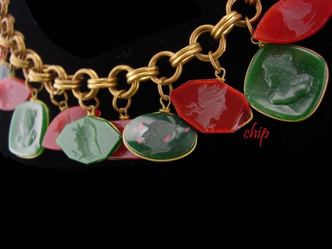 Victorian necklace / bloodstone earrings / Carnelian intaglio cameo / Fob necklace / antique estate jewelry