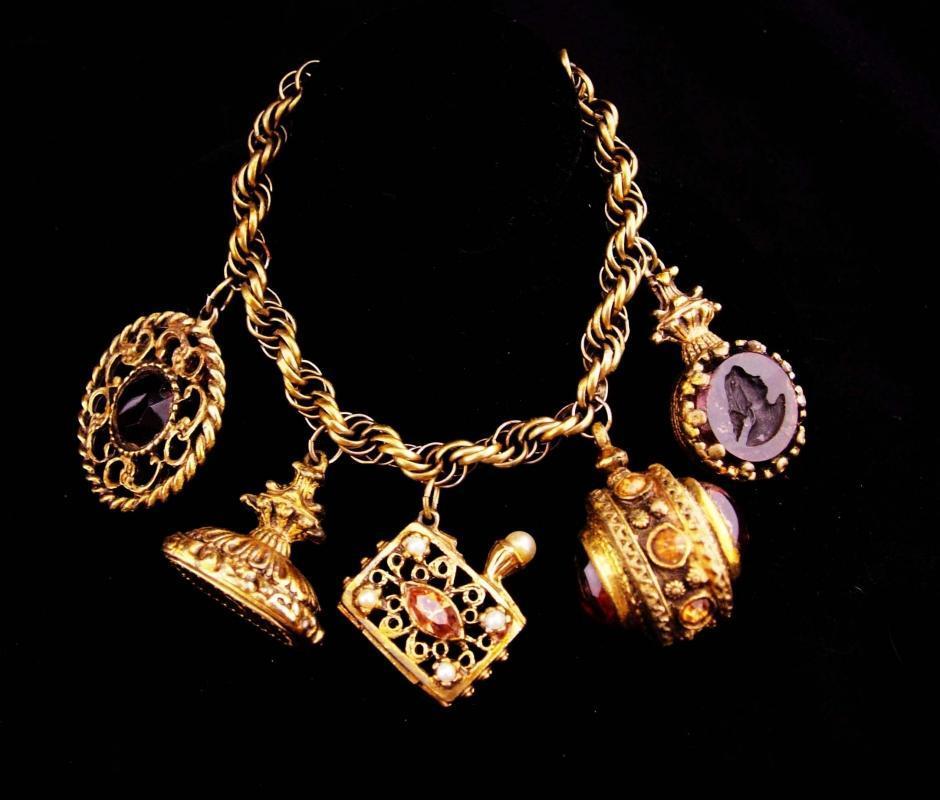 Victorian Fob bracelet / vintage Charm Bracelet / Medieval Fob / rhinestone purse charm / stamp fob / cameo goddess