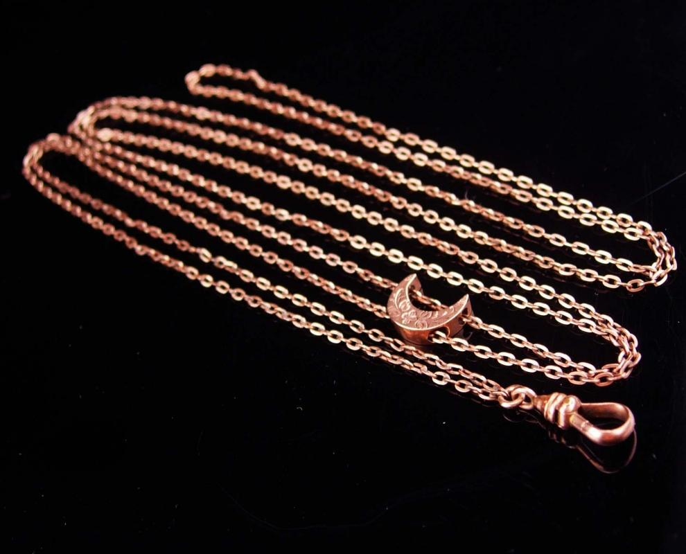 Antique moon Slide chain / Victorian Pocketwatch necklace / Vintage Rose gold / Vintage 49