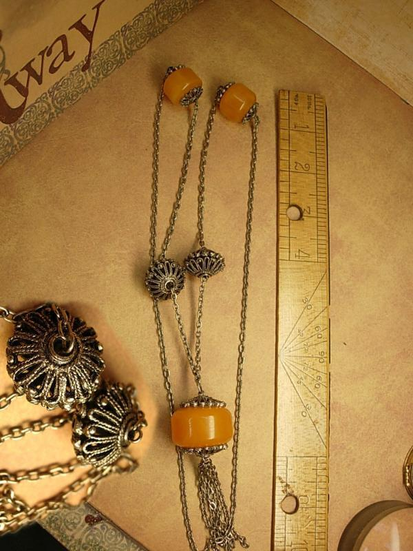 Vintage European necklace / gypsy jewelry / amber necklace with tassels / flapper necklace