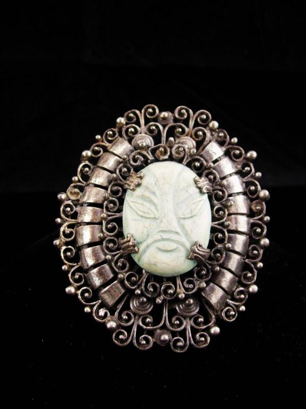 HUGE Vintage mask brooch / 3