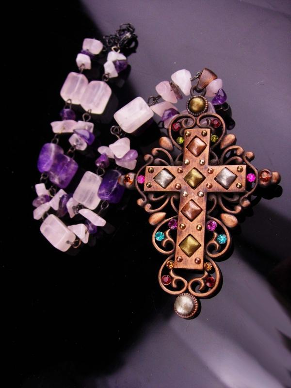 Gothic cross necklace / statement necklace / genuine Amethyst / copper Cross / Fit for a Queen / medieval jewelry