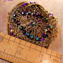 Bohemian bracelet /  WIDE Peacock purple blue / irridescent Cuff Bracelet / goddess jewelry / Filigree wrap / statement bracelet