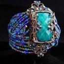 Gypsy bracelet / bohemian cuff / Turquoise beads / WIDE statement bracelet / OOAK cuff bracelet / beaded bohemian rhinestones