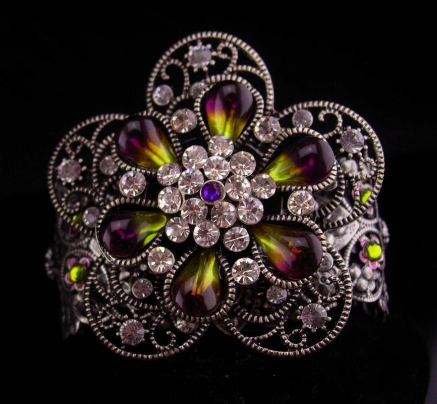 WIDE Rhinestone bracelet / Gypsy Cuff / givre flower / purple olivine teardrops / goddess bracelet / filigree cuff / statement bracelet
