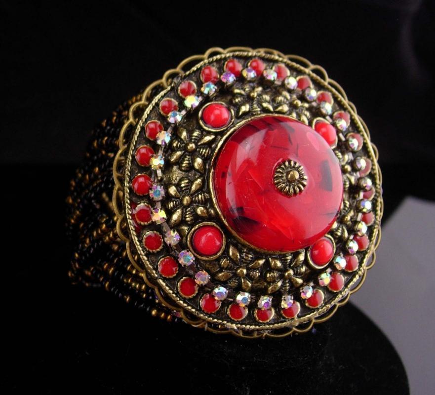 BOLD RED bracelet / HUGE medallion cuff / Red gypsy cuff / statement bracelet / Goddess cuff / bohemian rhinestones