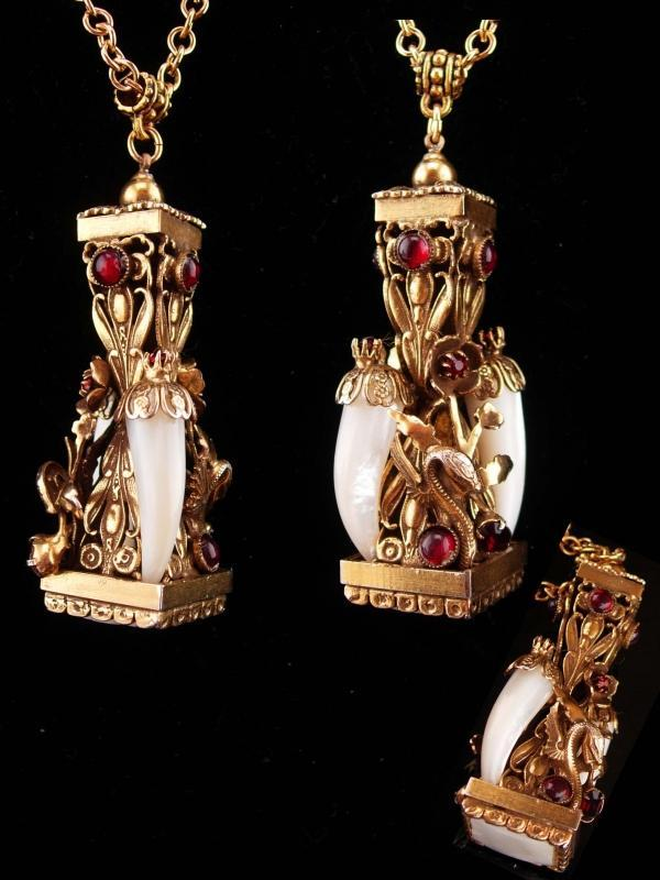 Vintage dragon parure / dragon fob/ mythical brooch / fob necklace / dragon clip on earrings / medieval winged Dragon / mother of pearl