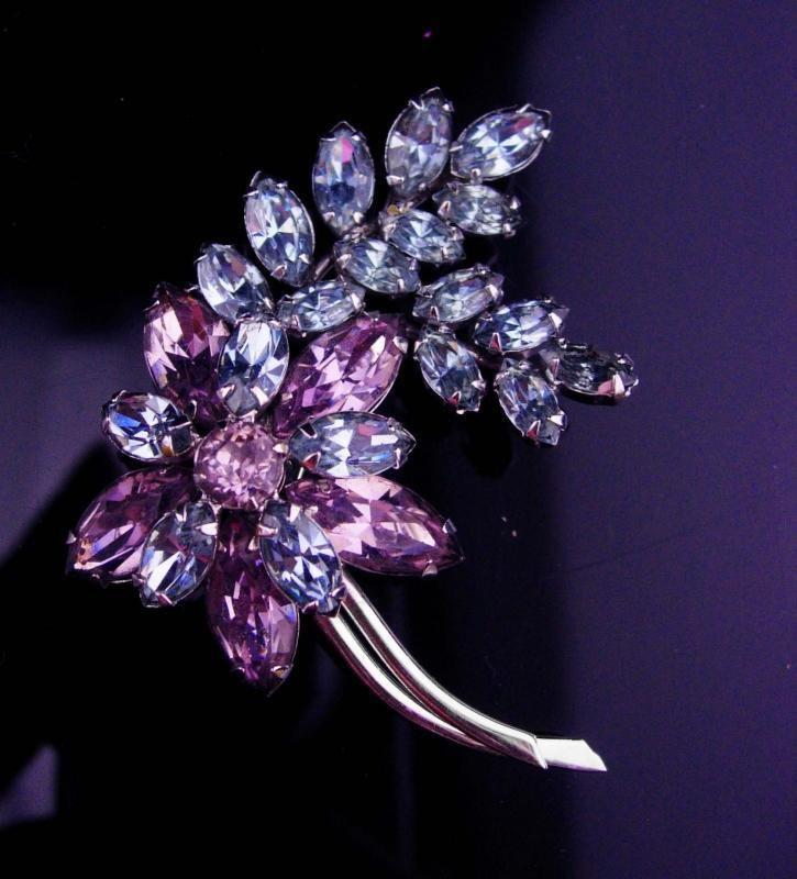 Sherman Alexandrite brooch / Signed purple pin / vintage costume jewelry / floral lapel pin / flower jewelry / estate jewelry