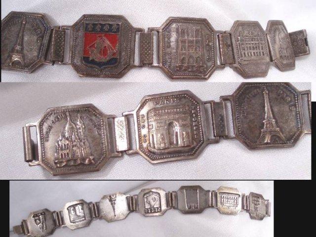 Vintage Paris Tourist ENAMEL repousse Bracelet