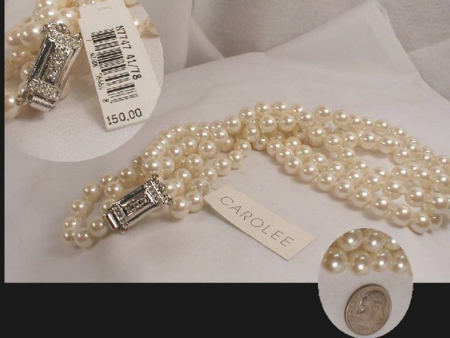 SIGNED hand knotted Pearl color choker orig tag