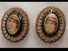 Vintage west German Flapper Clip on Earrings